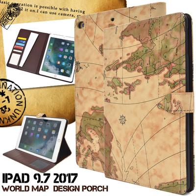 スタイリッシュな地図デザイン!iPad 9.7インチ 2017(iPad 第5世代)用ワールドデザインケース