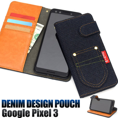 <スマホケース>Google Pixel 3用ポケットデニムデザイン手帳型ケース